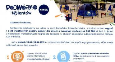 Zapraszamy do głosowania na Samorządowe Przedszkole z Oddziałem Integracyjnym w Małej Wsi w konkursie pn. Podwórko Talentów NIVEA 2019