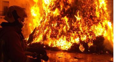 Pożar komórki na ogródkach działkowych