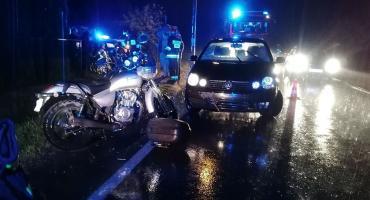 Zderzenie motocyklisty z krową