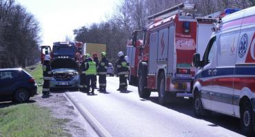 Utrudnienia na drodze między Łowiczem a Skierniewicami. Zderzenie osobówki i tira