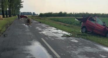 Nawałnica w Łowickiem. Drzewo spadło na jadące auto, dwie osoby zostały ranne
