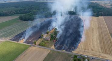 Pożar rżyska w gminie Bielawy. Ogień strawił 8 hektarów