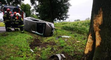 Dachowanie pod Kiernozią. Strażacy wydostali 24-latkę uwięzioną za kierownicą