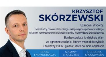 Krzysztof Skórzewski dziękuje osobom głosującym na niego w wyborach do sejmiku