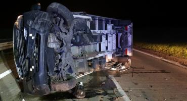 Zderzenie dwóch busów na autostradzie A4