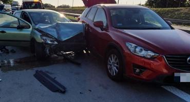 Zderzenie trzech aut na A4 w okolicy Kątów Wrocławskich