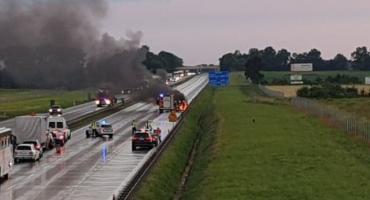 Pożar busa na A4 pod Wrocławiem