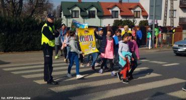Uczniowie i policjanci z pow. ciechanowskiego apelują do kierowców: Nie polujemy na zebrach!